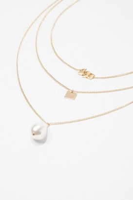 Forever 21 Faux Pearl Square Pendant Necklace Set