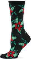 Hot Sox Poinsettia Printed Socks
