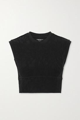 Twenty Montreal Pollock 3d Active Cropped Stretch Jacquard-knit Top - Black