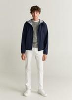 MANGO MAN - Raincoat hooded jacket dark navy - S - Men