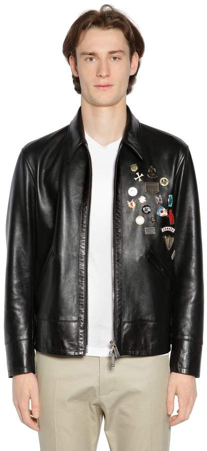 DSQUARED2 Leather Jacket W/ Pins