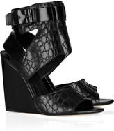 Natalia embossed-leather wedge sandals