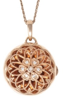 With You Lockets Elaine Photo Locket Necklace with Diamond Accent in 14k Rose Gold over Sterling Silver