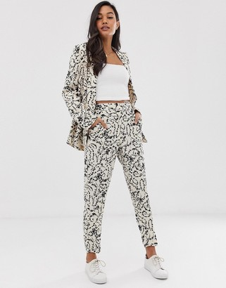 Ichi lace print suit trousers-White