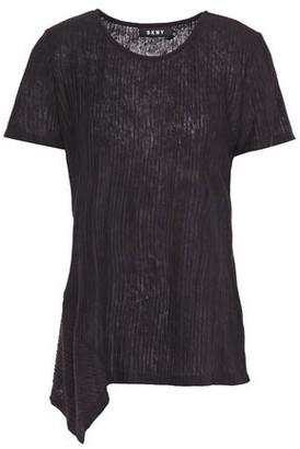 DKNY Asymmetric Ribbed Slub Jersey Top