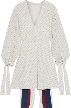 Stella McCartney Lea Cape-back Printed Silk Crepe De Chine Mini Dress