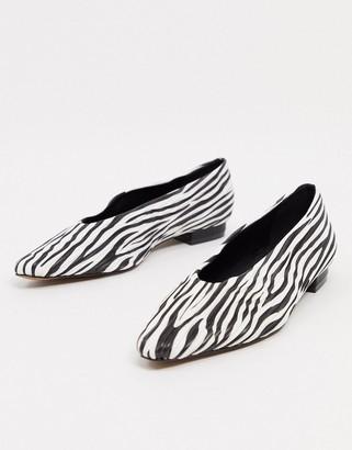 ASOS DESIGN Lexie ballet flats in zebra print