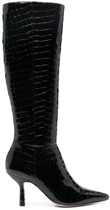 Schutz Embossed Croc Effect Knee-Length Boots