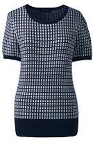 Lands' End Women's Tall Short Sleeve Supima Jacquard Sweater-Radiant Navy Jacquard