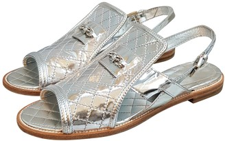 Chanel Silver Patent leather Sandals