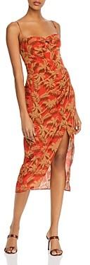 Bec & Bridge Palm Print Silk Midi Dress