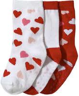 Joe Fresh Toddler Girls' 3 Pack Heart Print Socks, White (Size 3-5)