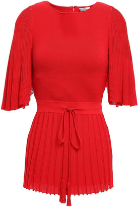 Oscar de la Renta Plisse-paneled Silk And Cotton-blend Peplum Top