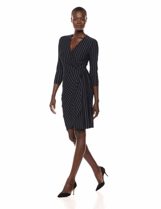 Lark & Ro Amazon Brand Women's Classic Long Sleeve V-Neck Compact Matte Jersey Wrap Dress