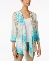 JM Collection Printed High-Low Cardigan, Created for Macy's