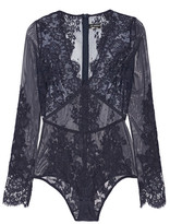 I.D. Sarrieri Stretch-tulle And Chantilly Lace Bodysuit - Midnight blue