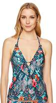 Laundry by Shelli Segal Women's Floral Paisley Ruffle Plunge Tankini