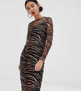 New Look midi dress with mesh in tiger print