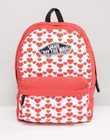 Vans Realm Backpack In Heart Print