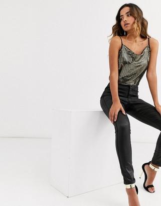 Y.A.S metallic cami top with cowl neck-Black