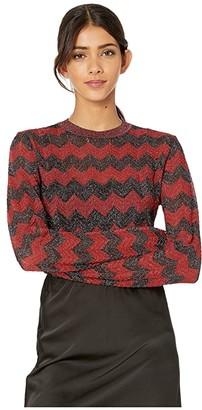 M Missoni Zigzag Lurex Long Sleeve Sweater (Red) Women's Clothing