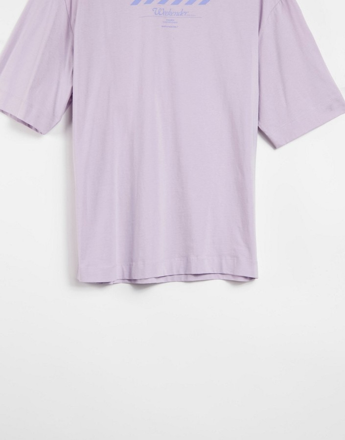 Thumbnail for your product : Collusion washed oversized back print t-shirt in lilac