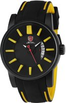 Shark Men's Sport Date Display Analog Quartz Honeycomb Dial Rubber Band Wrist Watch SH479 Yellow