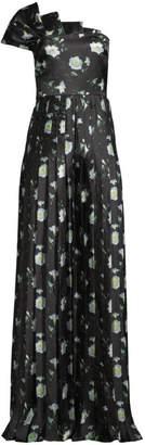 Flor Et. Al Chicago Floral Asymmetric Pleated Wide-Leg Jumpsuit