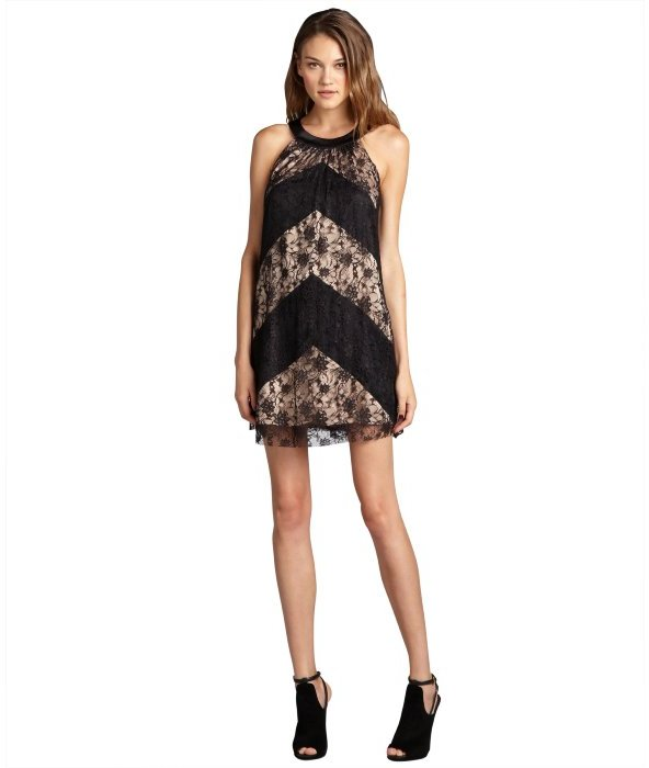Max & Cleo black stretch lace 'Kate' halter cocktail dress