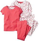 Carter's 4 Piece PJ Set (Toddler/Kid) - Strawberry Print-3T