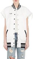 R 13 Women's Misfit Cutoff-Sleeve Varsity Jacket