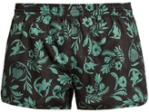 Ami Leaf-print swim shorts