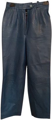 Christian Dior Blue Leather Trousers