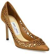 Jimmy Choo Romy 85 Lasercut Leather Point-Toe Pumps