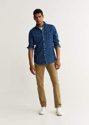 MANGO Slim fit dark denim shirt