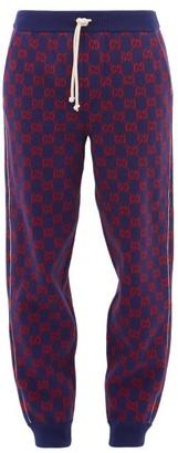 Gucci Gg Wool-blend Track Pants - Mens - Blue