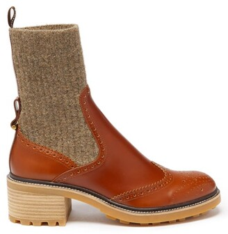 Chloé Franne Block-heel Leather And Wool Boots - Tan