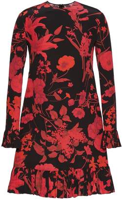 Valentino Short Silk Dress With Logo L/sleeves Flowers Print