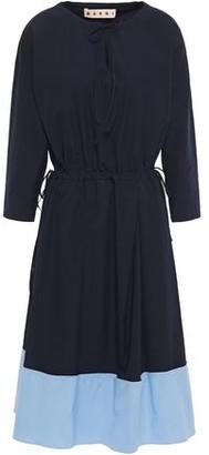 Marni Pleated Two-tone Cotton-poplin Dress