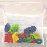 Baby Kids Bath Toys Organizer Shower Net Suction Cup Storage Bag White
