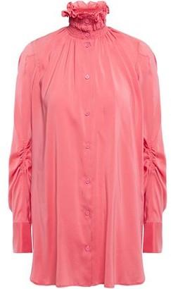 Carven Shirred Washed Silk-blend Shirt