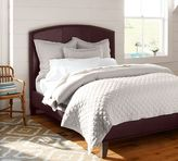 Pottery Barn Fillmore Curved Leather Headboard & Bed