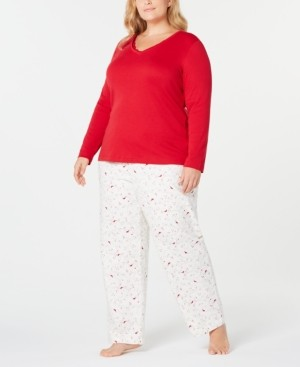 Charter Club Plus Size Printed Pajama Set, Created for Macy's