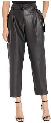 BCBGMAXAZRIA Faux Leather Paperbag Waist Pants