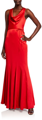 LIKELY Mae Cowl-Neck Satin Column Gown