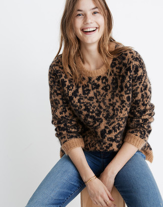 Madewell Crewneck Pullover Sweater in Leopard