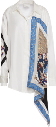 3.1 Phillip Lim Asymmetric Patchwork-effect Fringe-trimmed Printed Silk Shirt
