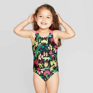 Cat & Jack Toddler Girls' Cross Back Straps One Piece Swimsuit Black