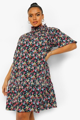 boohoo Plus Floral High Neck Smock Dress