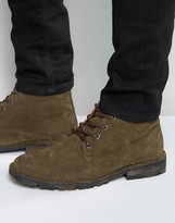 Asos Chukka Boots in Khaki Suede With Camo Sole